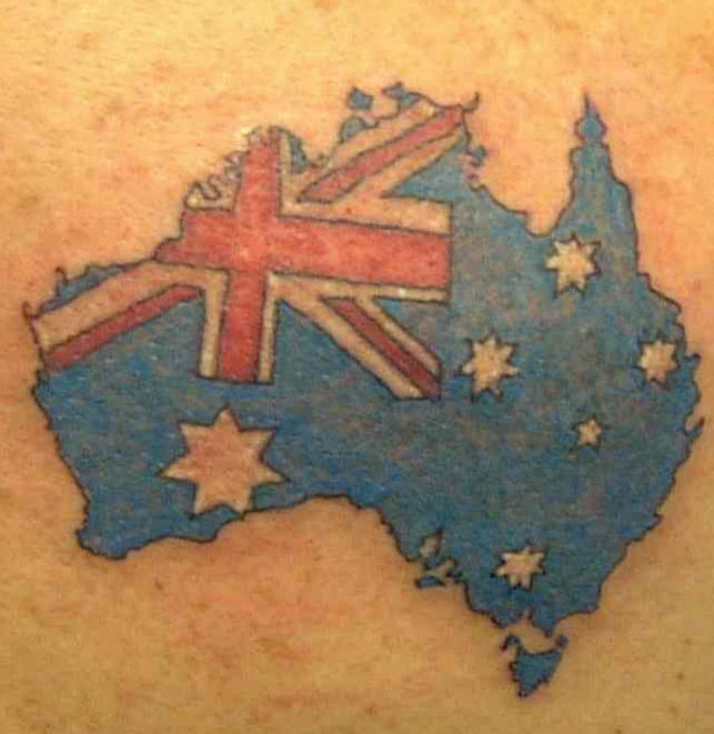Australian flag and map tattoo