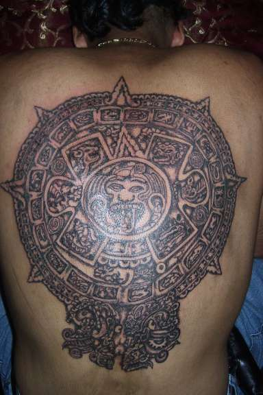 Piedra del sol large aztec tattoo on back