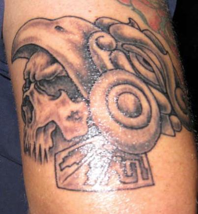 Aztec style warrior skull tattoo