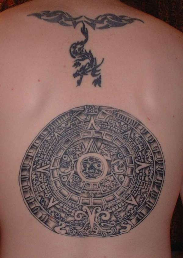 aztec calendar stone tattoo on back. Black Bedroom Furniture Sets. Home Design Ideas