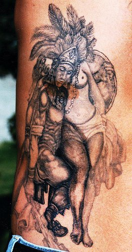 Aztec warrior and naked woman tattoo