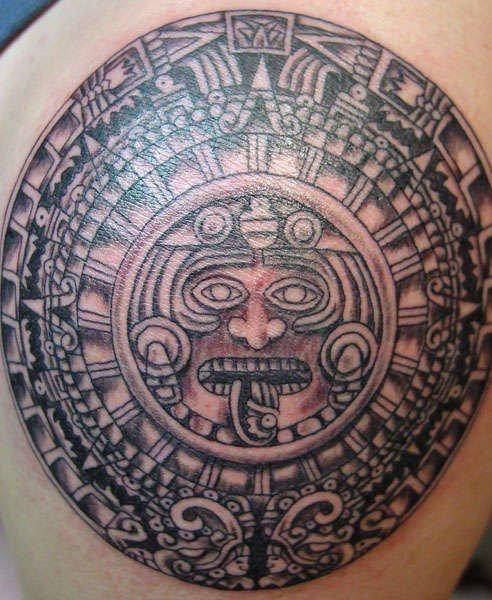 Aztec ritual stone tattoo