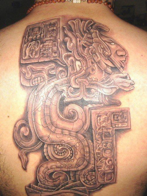 High quality aztec serpent on stone art