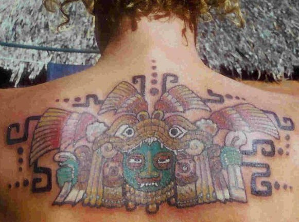 Aztec colourful pattern tattoo on back