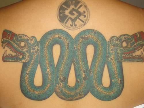aztec serpent coloured tattoo. Black Bedroom Furniture Sets. Home Design Ideas