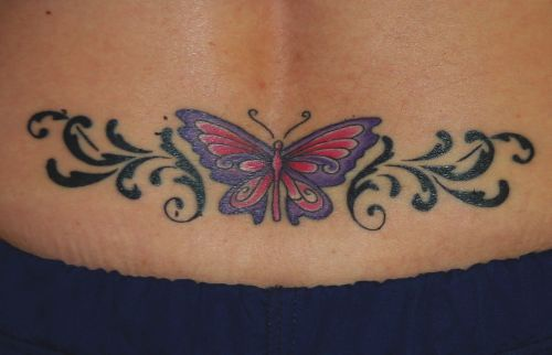 super deep meaning butterfly tattoo on tail base. Black Bedroom Furniture Sets. Home Design Ideas