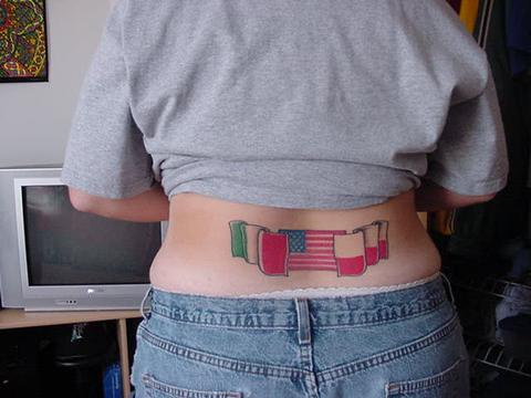 Italy usa and poland flags tattoo on tail base