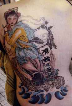 Asian style girl on river tattoo in colour