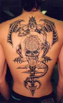 Large demon with skull on throne tattoo