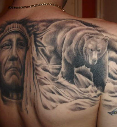 Native indian with bear on river