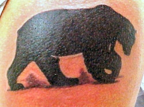 orso silhouette nero tatuaggio