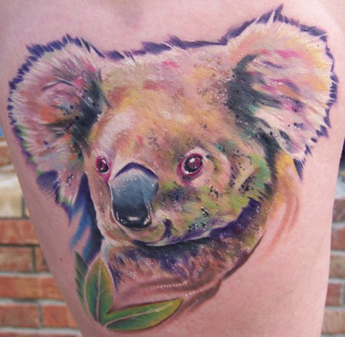 Koala bear tattoo in colour