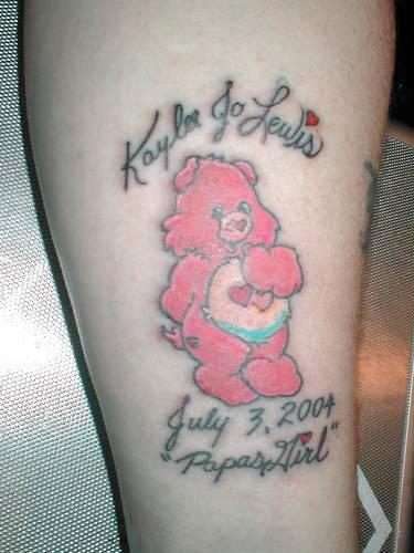 Cute pink bear tattoo
