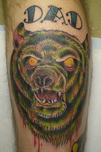 Dead zombie bear tattoo