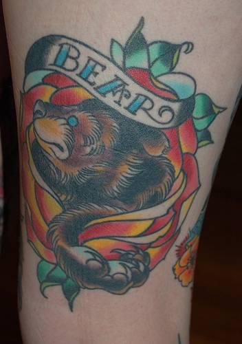 Bear classic  tattoo in colour
