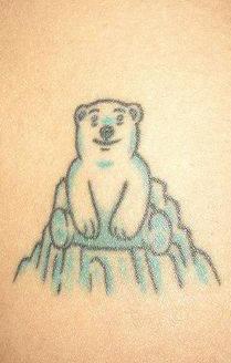 Polar bear on iceberg tattoo