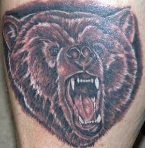 Angry roaring bear head  tattoo