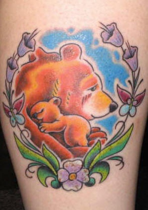 Mother bear and her baby coloured tattoo