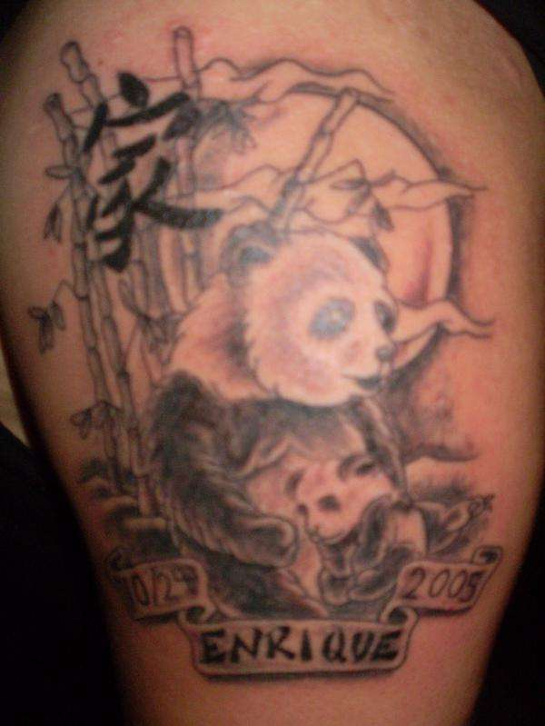 Panda bear with child tattoo