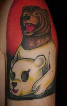 costumi di orso marrone e orso polare tatuaggio