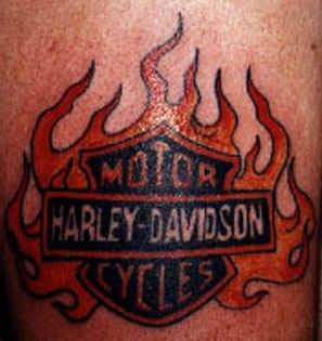 Harley davidson logo in flames