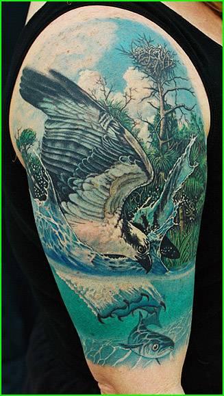 Realistic eagle into the wild tattoo