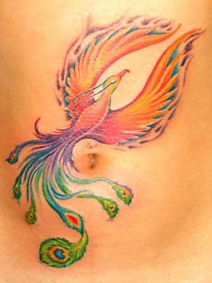 Majestic firebird tattoo on tummy