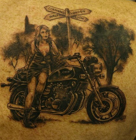 Girl with motorcycle on crossroad tattoo