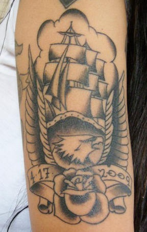 Eagle and ship sailor tattoo