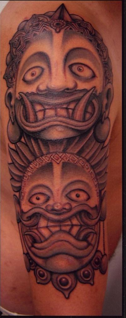 Asian oni demon mask tattoo