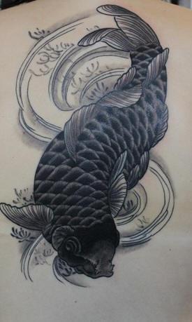 Black ink koi fish tattoo for Black coy fish