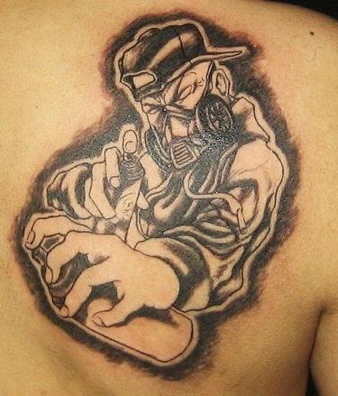 Industrial graffiti artist black ink