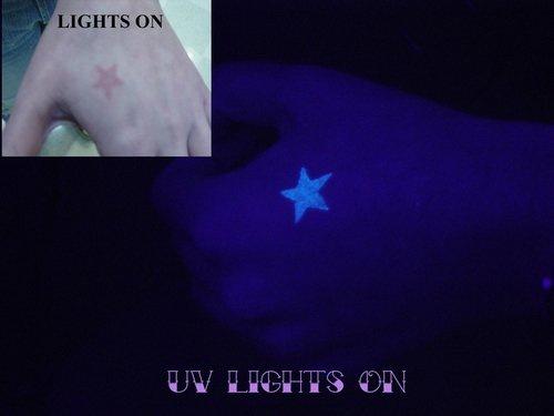 Regular star glowing tattoo