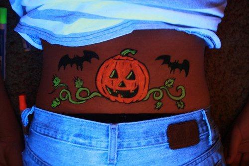 Halloween lantern with bats glowing tattoo