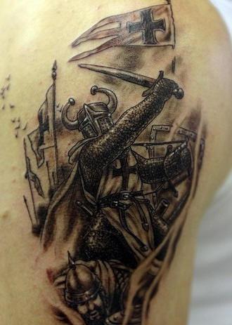Wrathful crusader with sword tattoo