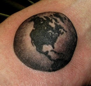 Planet earth monochrome tattoo
