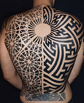 Full back black pattern labyrinth tattoo