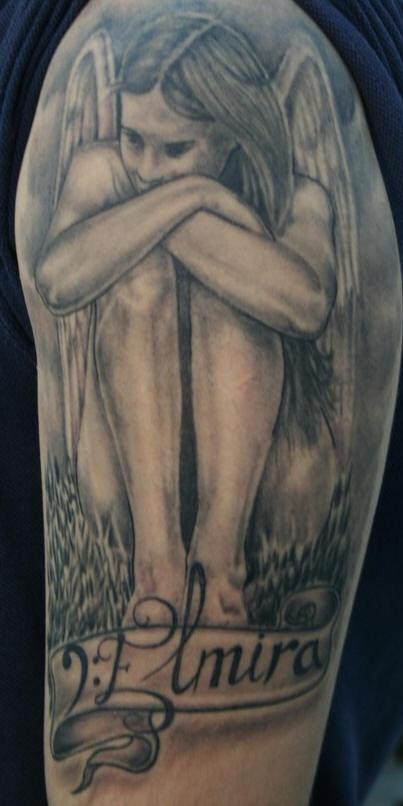 Angel in sorrow black tattoo