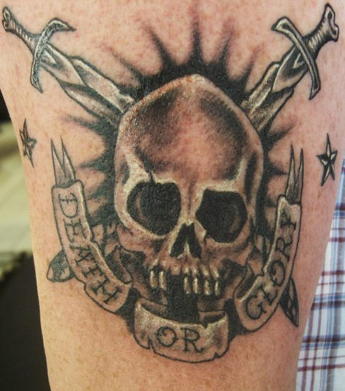 Death or glory skull and swords tattoo