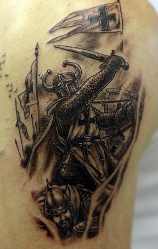 Black crusader warrior with sword