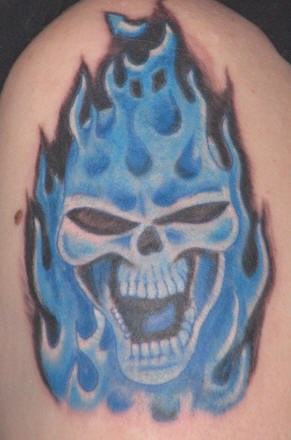 Blue flames with skull tattoo