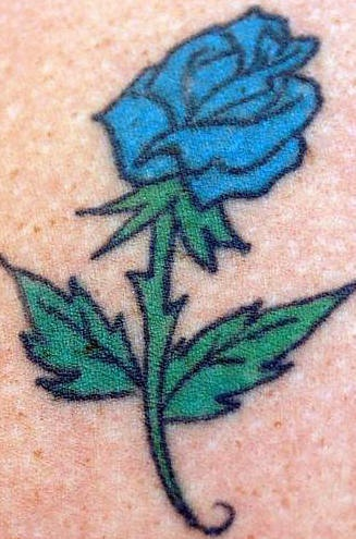 Blue rose flower tattoo