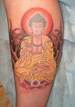 Meditating buddha in forest tattoo