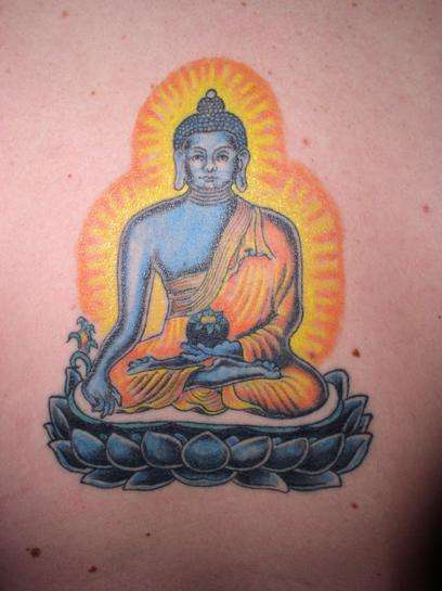 Buddha in nirvana coloured tattoo