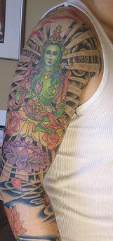 Green hindu deity full sleeve tattoo