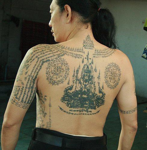 Original buddhist full back tattoo