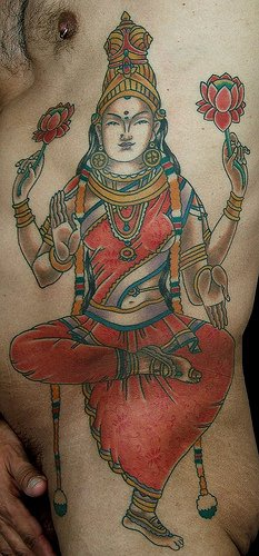 Dancing hindu deity coloured tattoo