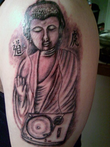 Dj buddha black and white tattoo