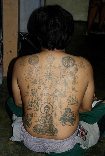 Native tibetian full back tattoo on back