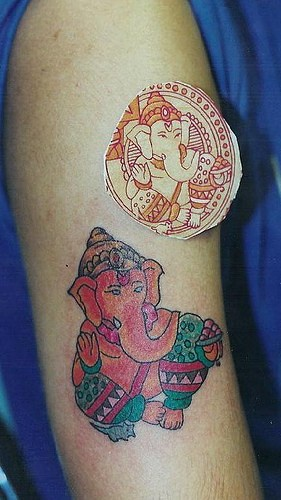 "ganesha indu"" divinita"" tatuaggio da quadro"